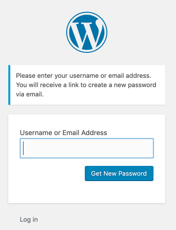 Enter your username or email address to reset your WordPress password