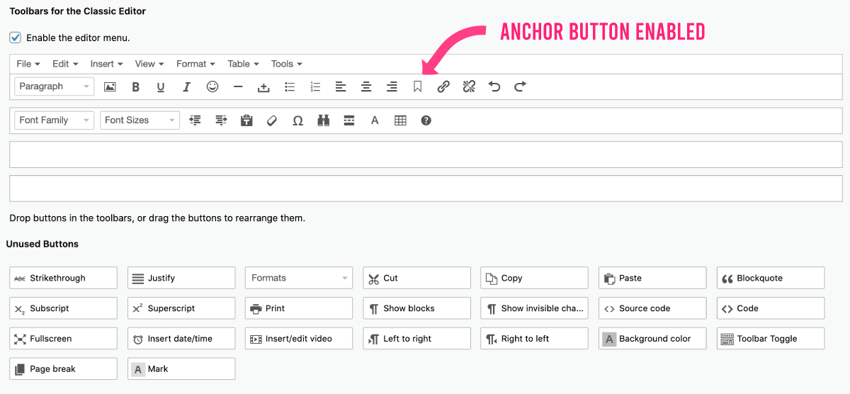 Anchor Button Enabled - Classic Editor