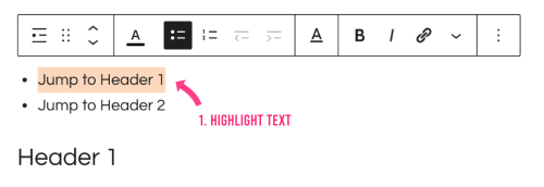 Highlight text to create anchor link in gutenberg
