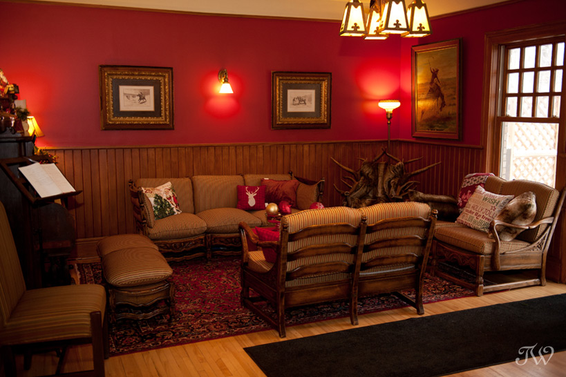 Charlie's lounge at Bow Valley Ranche captured by Tara Whittaker Photography