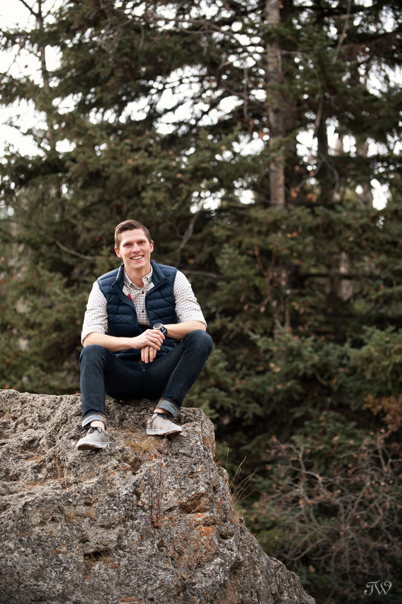 Geoff during his Big Hill Springs engagement session captured by Tara Whittaker Photography