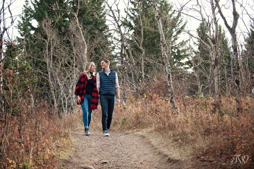 stroll during a Big Hill Springs engagement session captured by Tara Whittaker Photography