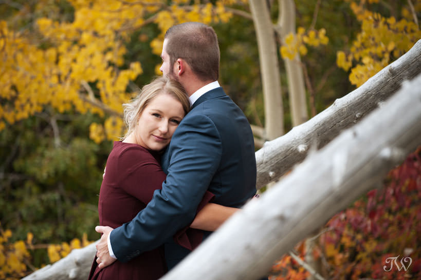 fall foliage during a barrier lake engagement session with Tara Whittaker Photography