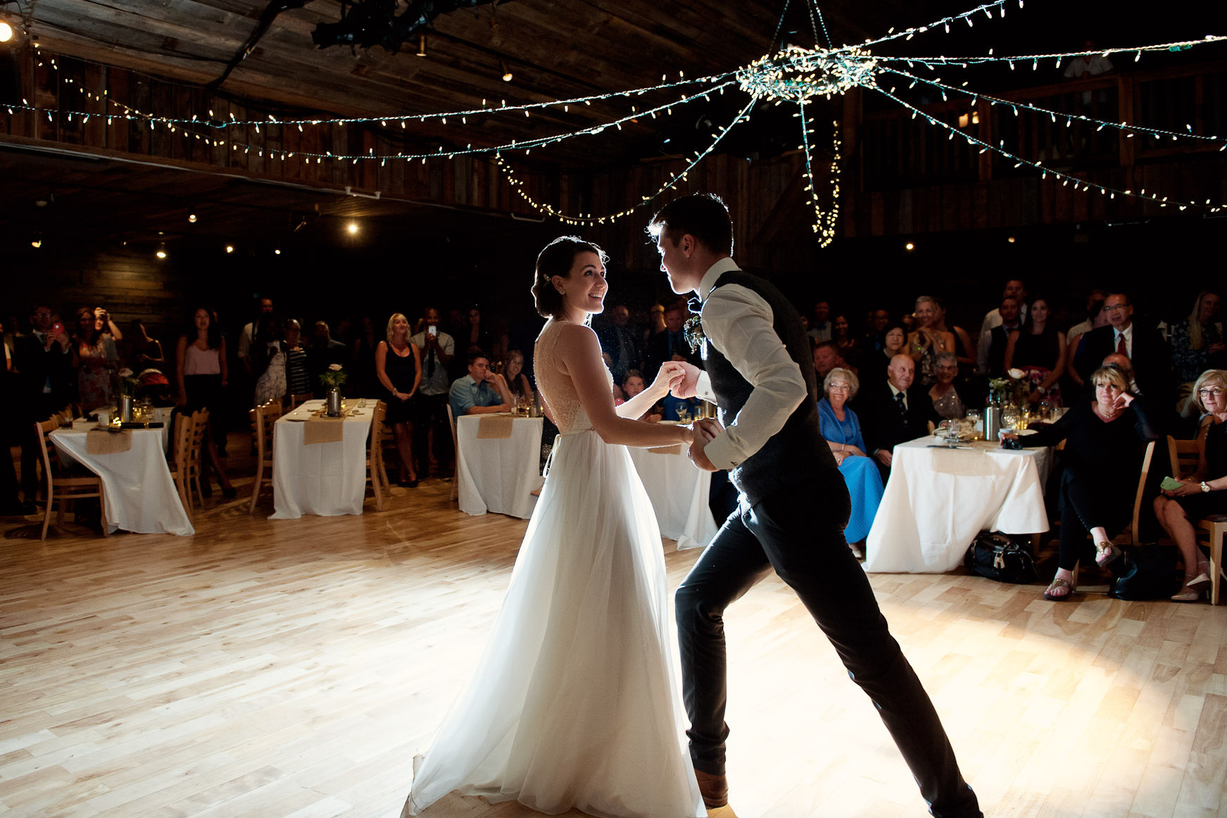 Bride and groom during their first dance at Cornerstone in Canmore