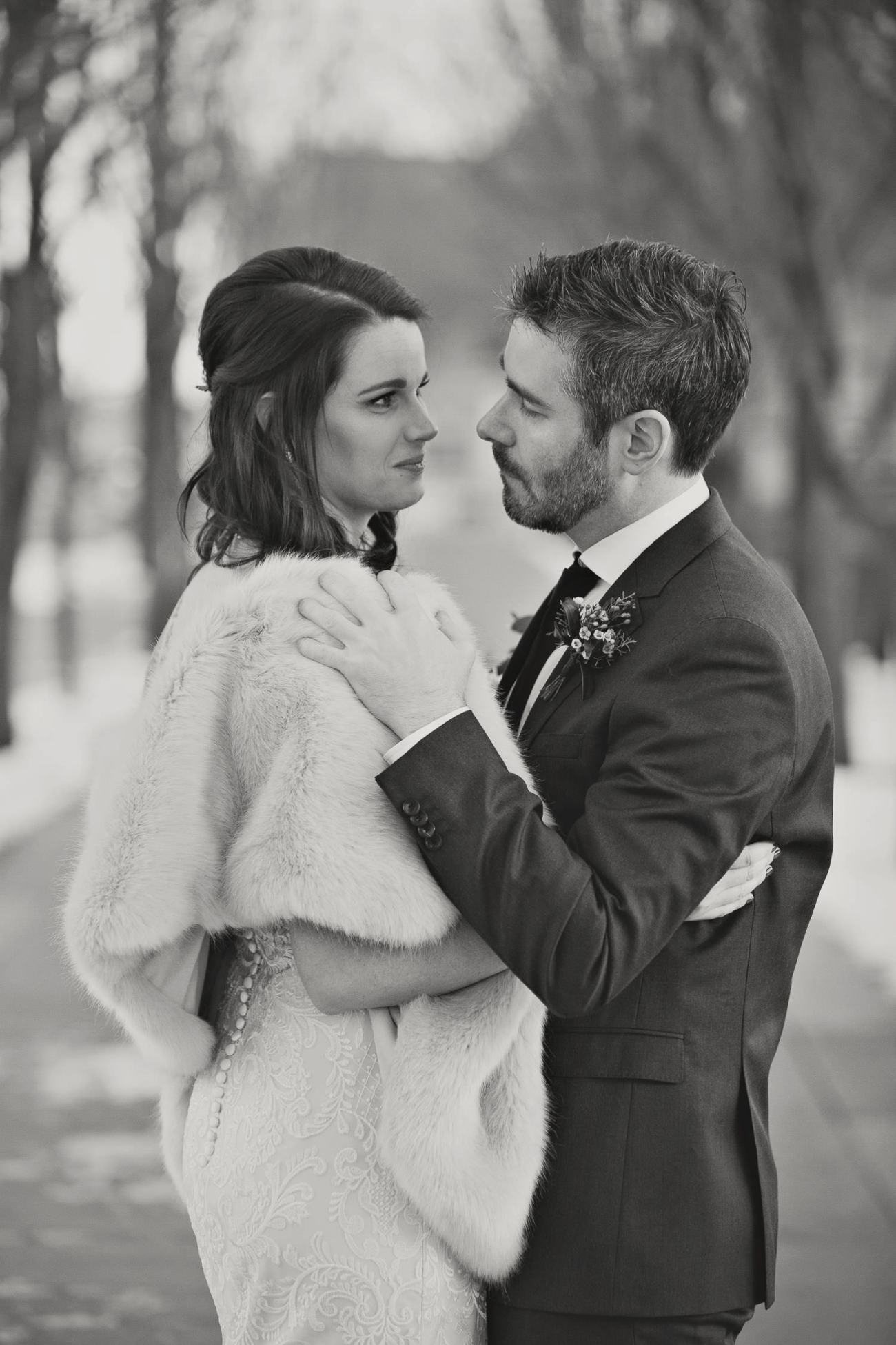 Winter wedding portraits outside Venue 308 captured by Tara Whittaker Photoography