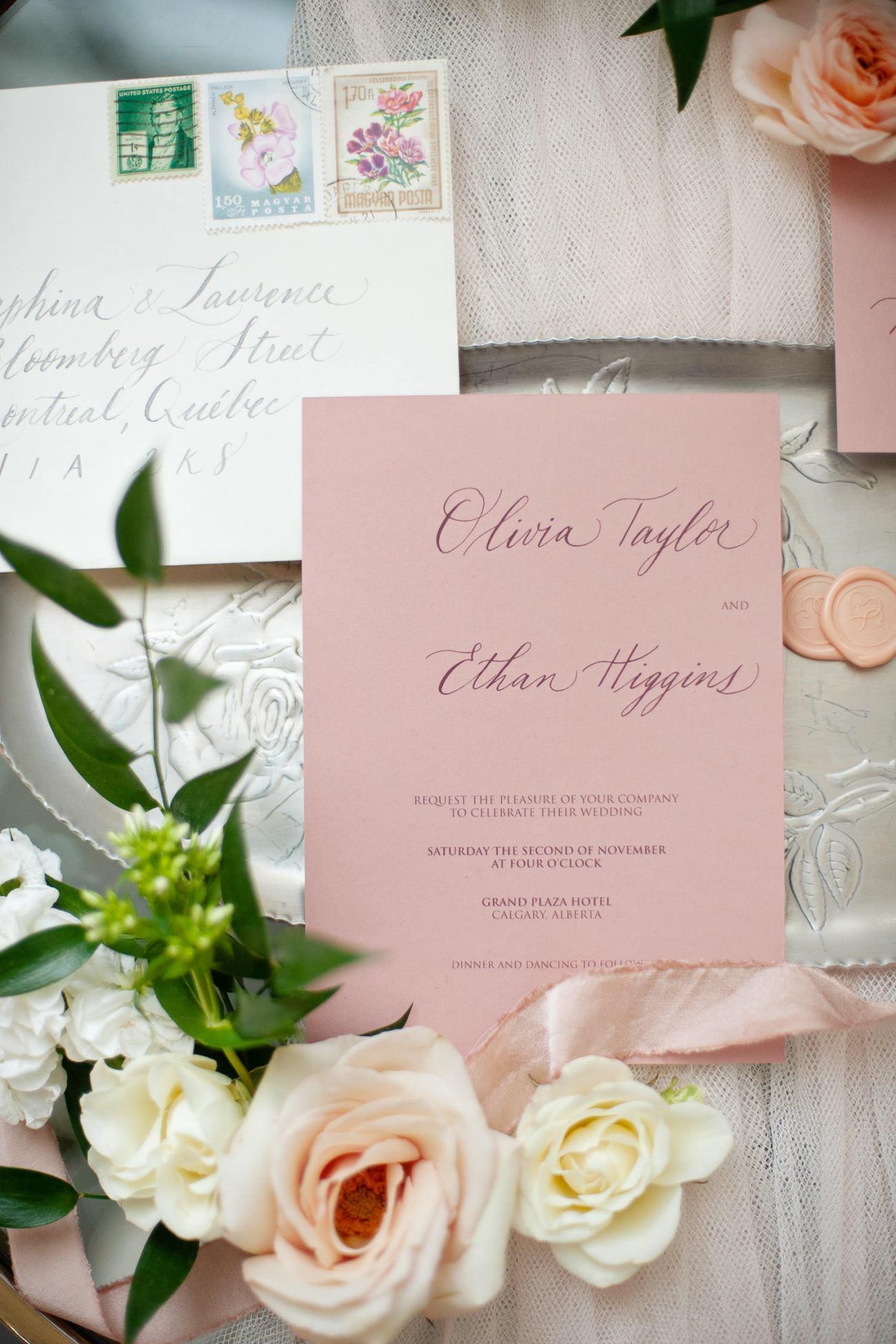 pastel wedding invitation captured by Tara Whittaker Photography