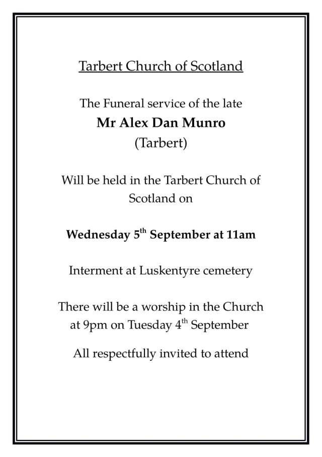 Funeral Notice AD Munro