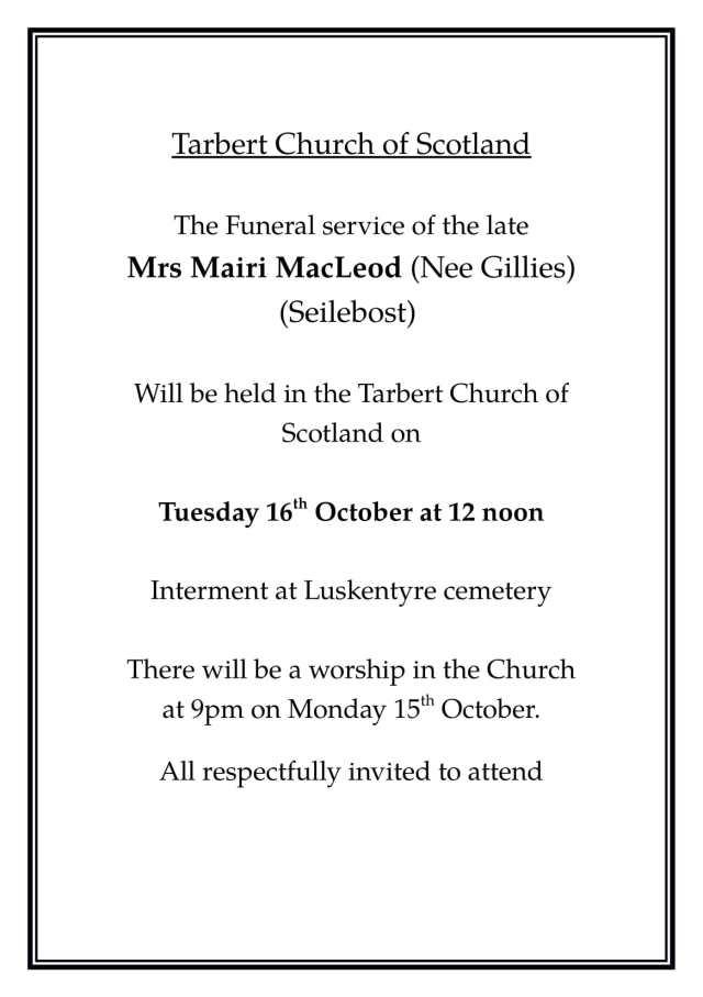 Funeral Notice Mairi MacLeod-1