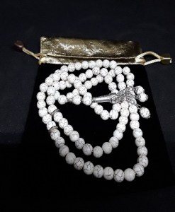 Authentic White Jasfar Beads Tasbih in Counts of 99