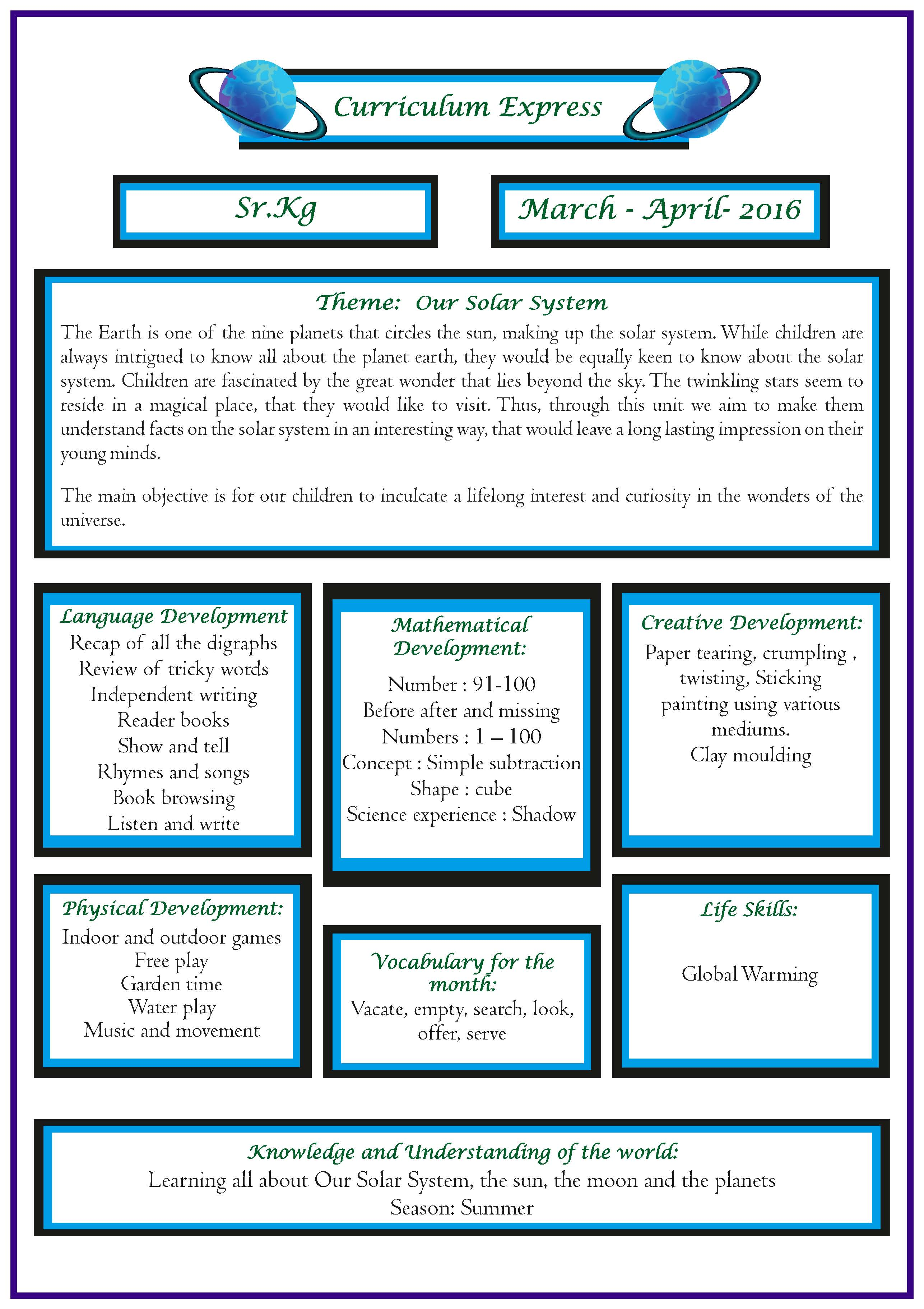 Curriculum Express For The Month Of March April Sr