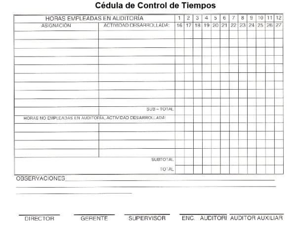 Cédula de Control de Tiempos