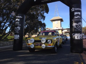 Gerry Bashford and Bob Watson about to leave the start on Mt Buller for the start of Targa High Country 2014.