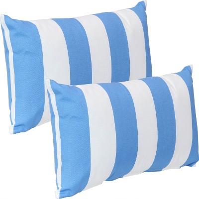 beach bound stripe decorative indoor outdoor lumbar pillow covers set of 2 blue stripe sunnydaze decor