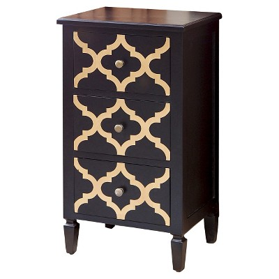 shia 3 drawer side storage table black and gold abbyson living