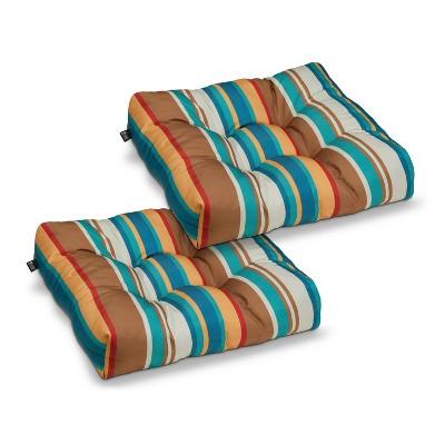 2pk water resistant patio seat cushions sante fe stripe classic accessories