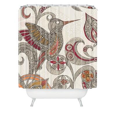 flying bird shower curtain beige red deny designs