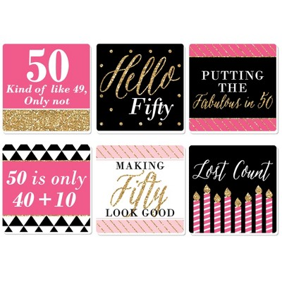 Big Dot Of Happiness Chic 50th Birthday Pink Black And Gold Funny Birthday Party Decorations Drink Coasters Set Of 6 Target