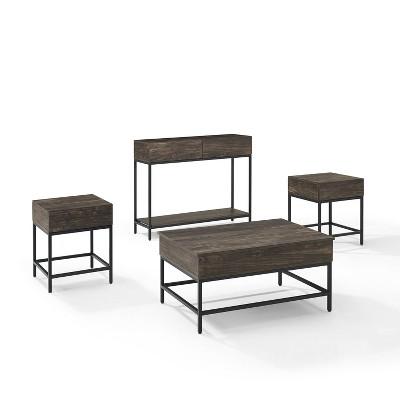 4pc jacobsen coffee table set 2 end tables charcoal crosley