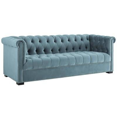heritage upholstered velvet sofa sea blue modway