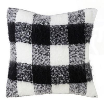 faux mohair buffalo plaid oversize square throw pillow black saro lifestyle