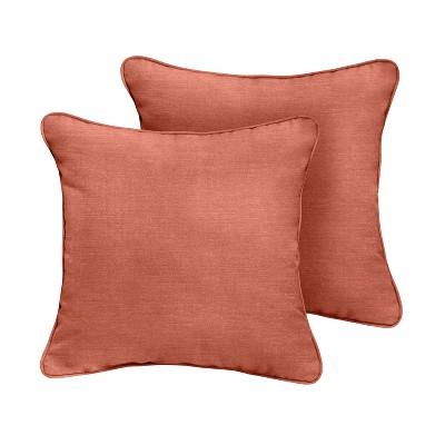 2pk 16 sunbrella corded outdoor throw pillows coral