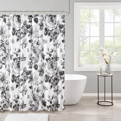 hannah floral printed shower curtain black white