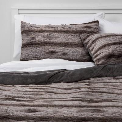 twin twin xl faux fur comforter and sham set gray threshold