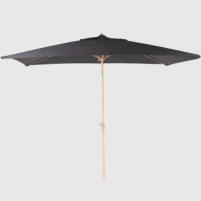 10 x 6 rectangular patio umbrella duraseason fabric charcoal light wood pole threshold
