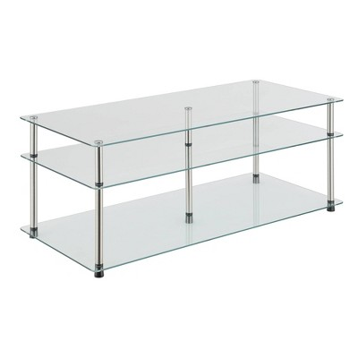 classic glass 3 tier coffee table clear glass breighton home