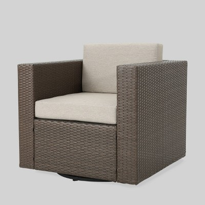 puerta wicker outdoor patio swivel club chair brown gray christopher knight home