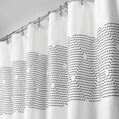 mdesign cotton bathroom shower curtain modern print 72 x 72 white black