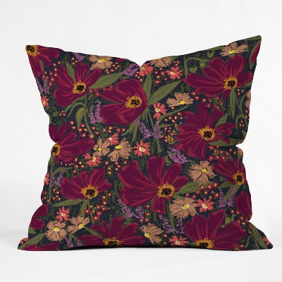 maroon floral throw pillow deny designs