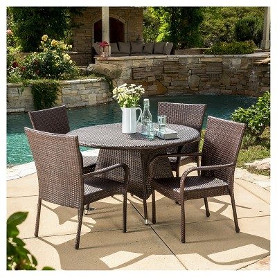 grant 5pc wicker patio dining set brown christopher knight home