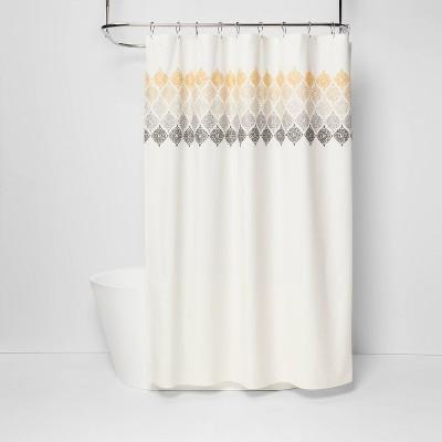 medallion shower curtain ombre white threshold