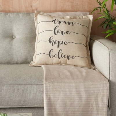 18 x18 dream love hope believe throw pillow natural kathy ireland home