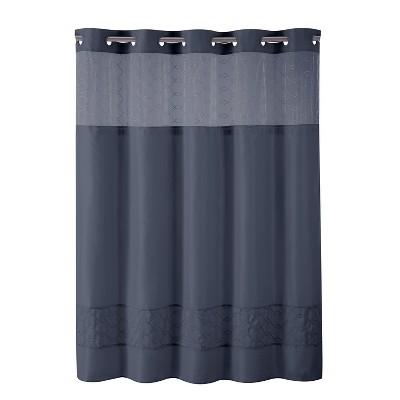 solid shower curtain indigo hookless