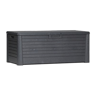 toomax florida uv resistant lockable deck storage box bench for outdoor pool patio garden furniture indoor toy bin container 145 gal anthracite