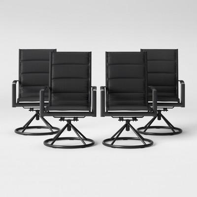 Avalon 4pk Sling Swivel Rocker Patio Dining Chair Black Project 62