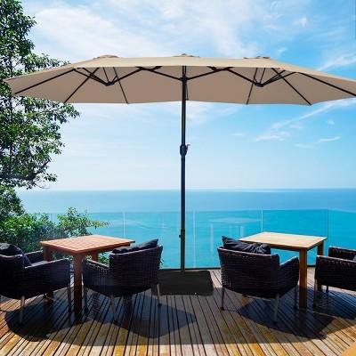 costway 15 ft patio double sided umbrella outdoor market umbrella beige