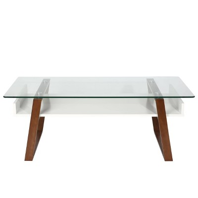 corona mid century glass top coffee table walnut edgemod