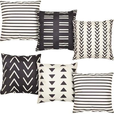 6 pack geometric pattern decorative throw pillow case cushion covers 18x18 inch pillowcase black white