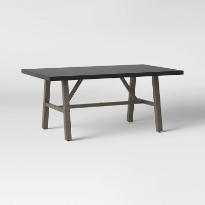 concrete faux wood 6 person rectangle patio dining table smith hawken