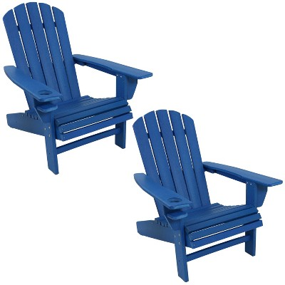 sunnydaze plastic all weather heavy duty outdoor adirondack patio chair with drink holder blue 2pk