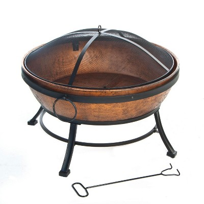 deckmate 30371 avondale outdoor backyard patio portable steel fire bowl fire pit antiqued copper finish