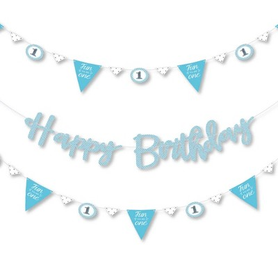 Big Dot Of Happiness 1st Birthday Boy Fun To Be One First Birthday Party Letter Banner Decor 36 Banner Cutouts And Happy Birthday Banner Letters Target