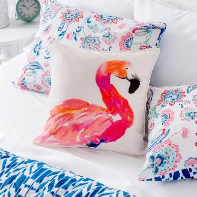 coco flamingo throw pillow cover white pink martha stewart