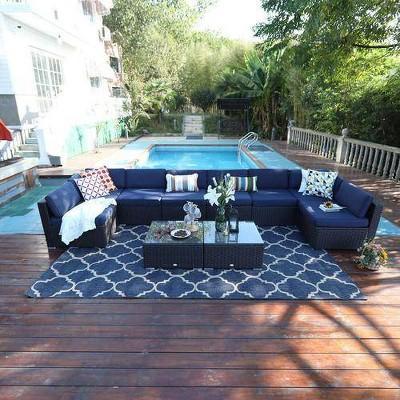 10pc outdoor rattan wicker sectional sofa set captiva designs