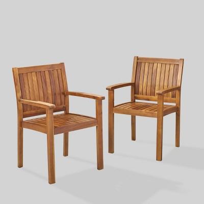 wilson 2pk acacia wood patio dining chair teak christopher knight home