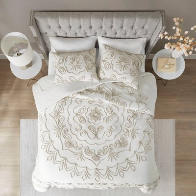 king california king 3pc cotton chenille comforter set ivory taupe