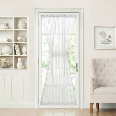 goodgram batiste sheer french door curtain panel with tieback 56 in w x 72 in l white